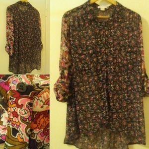 BAND of GYPSIES Floral Blouse, Size: XL